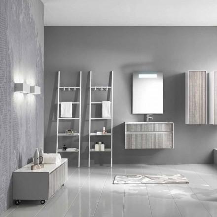 Composition de salle de bain suspendue Meuble design moderne blanc et bois - Rossana