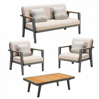 Canapé 2 places Garden Composition, 2 fauteuils et table basse - Moira