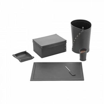 Composition de bureau de design moderne en cuir Made in Italy - Andrea