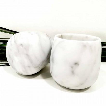 Composition de 2 verres en marbre blanc de Carrare Made in Italy - Dolla