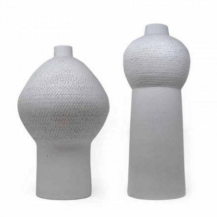 Composition de 2 Vases Décoratifs en Céramique Décorée - Lampedusa