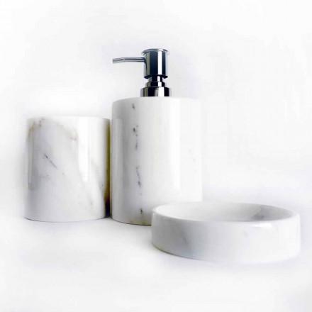 Composition de 3 accessoires de salle de bain en marbre poli Made in Italy - Trevio