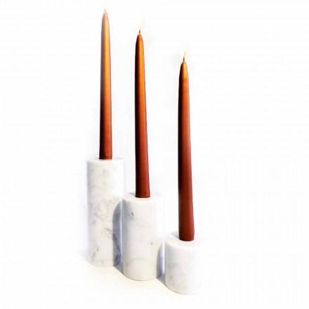 Composition de 3 bougeoirs en marbre blanc de Carrare Made in Italy - Astol
