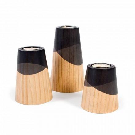 Composition de 3 bougeoirs modernes en bois de pin massif - Blanc