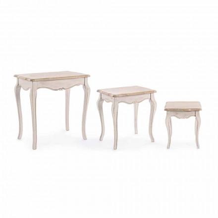Composition de 3 Tables Basses en Bois Design Classique Homemotion - Classique
