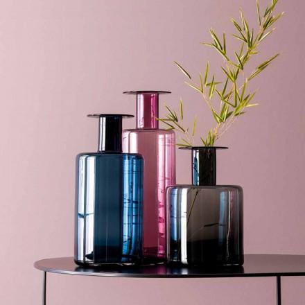 Composition de 3 Vases Décoratifs en Verre Fumé, Bleu et Améthyste - Infinity