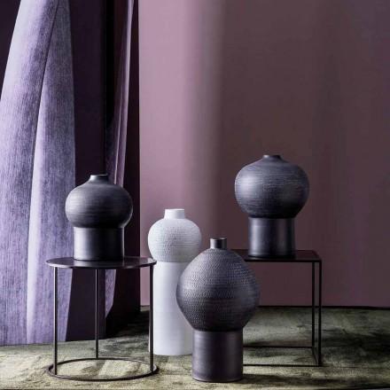 Composition de 4 Vases Décoratifs en Céramique Noire et Blanche - Calicanto