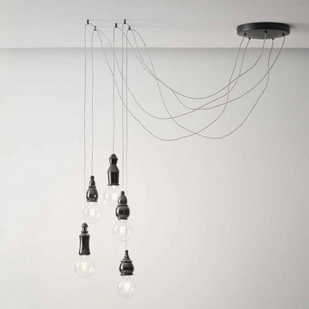 Composition de 5 Lampes Suspendues Shabby Chic en Céramique – Fate Aldo Bernardi