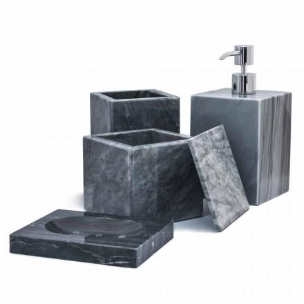 Composition d'accessoires de salle de bain en marbre Made in Italy, 4 pièces - Deano