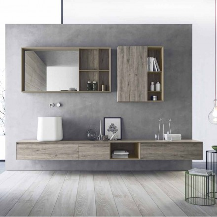 Composition de meubles de salle de bain modernes, design suspendu Made in Italy - Callisi6