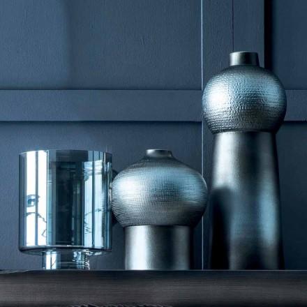 Composition de Vases Décoratifs en Céramique Décorée et Verre Fumé - Monile