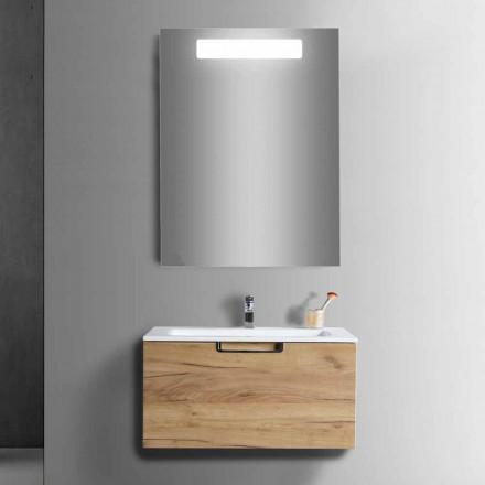 Composition de meuble de salle de bain en bois et miroir design moderne - Gualtiero