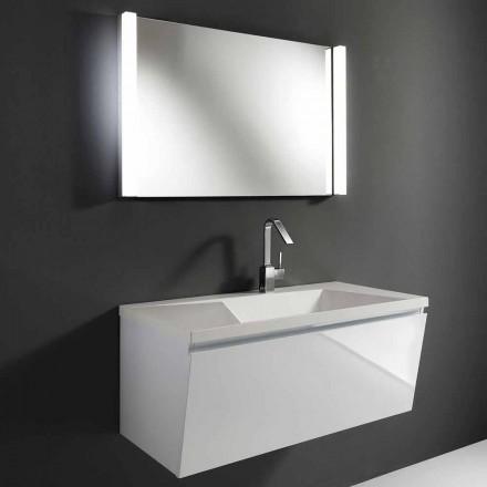 Composition de meubles de salle de bains suspendus modernes blancs avec miroir LED - Desideria