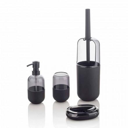 Composition moderne d'accessoires de salle de bain en plastique et caoutchouc noir - Noto