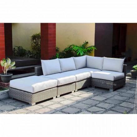 Canapé modulable de jardin Rita, de design moderne, tressé à la main