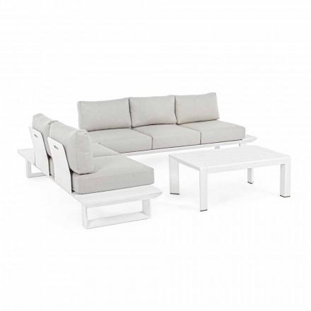 Composition de salon d'extérieur en aluminium et tissu, Homemotion - Francine