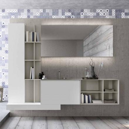 Composition de meubles de salle de bain suspendus avec un design moderne fabriqué en Italie - Callisi15