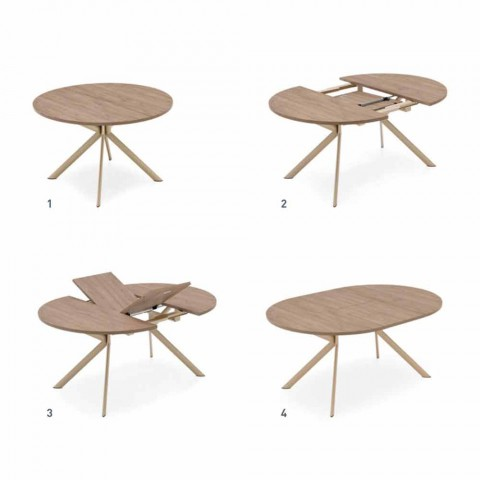 Connubia Calligaris Jupiter table ovale en bois, L140 / 190cm