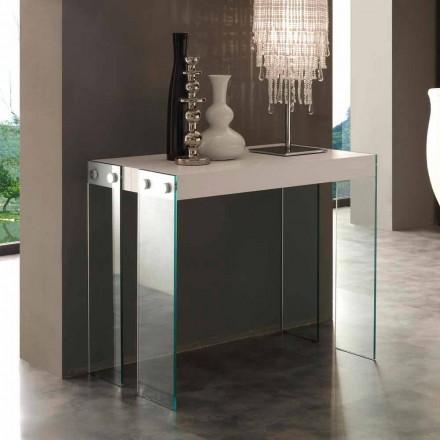Console extensible de design moderne avec pieds en verre trempé Miss