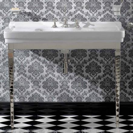 Console de salle de bain en céramique blanche 105 cm avec pieds, fabriquée en Italie - Marwa