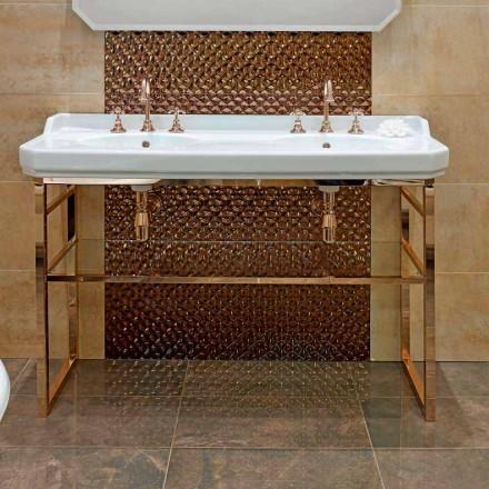 Console de salle de bain L 135 cm avec double vasque en céramique avec pieds - Nausica