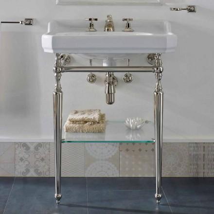 Console de salle de bain en céramique 65 cm avec pieds en métal Made in Italy Nausica