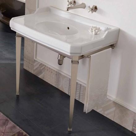 Console de salle de bain vintage 90 cm, céramique blanche, avec pieds Made in Italy - Nausica
