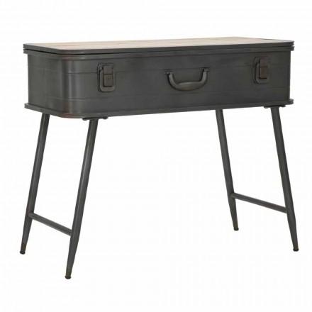 Console avec conteneur en fer et bois de conception industrielle - Gomes