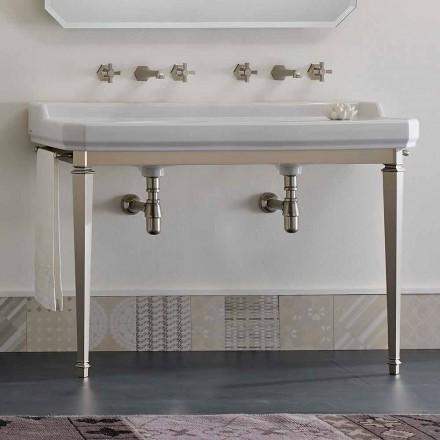 Console de salle de bain L 135 cm avec double vasque en céramique Made in Italy - Nausica