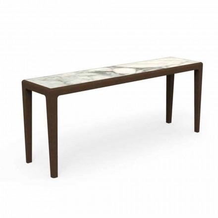 Console d'extérieur moderne en bois de teck et grès Capraia - Cruise Teak Talenti