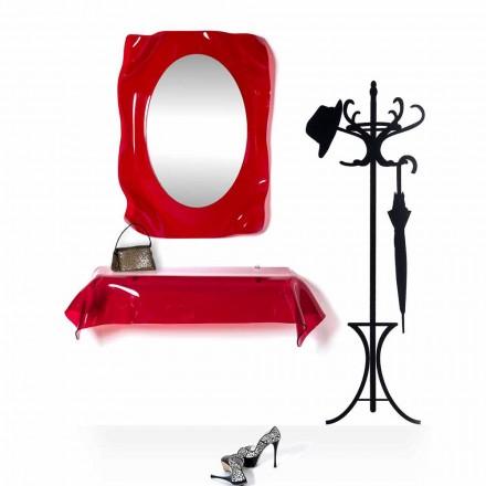 Console de design moderne en plexiglas rouge transparent drapé Wish