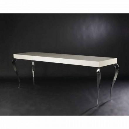 Table console en MDF et acier Luigi, avec 4 pieds