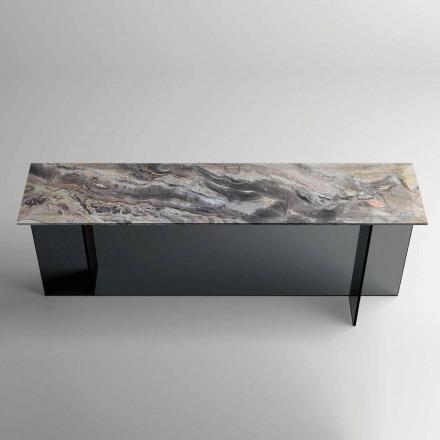 Console design avec plateau en marbre et base en verre Made in Italy - Molino
