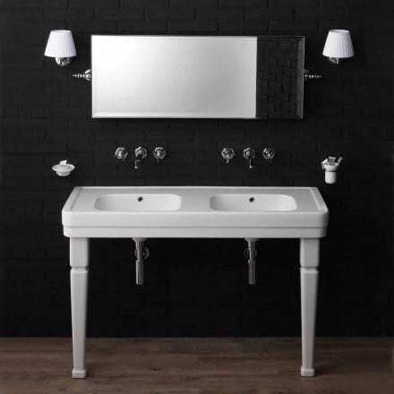 Console salle de bain double vasque avec pieds en céramique Serenity