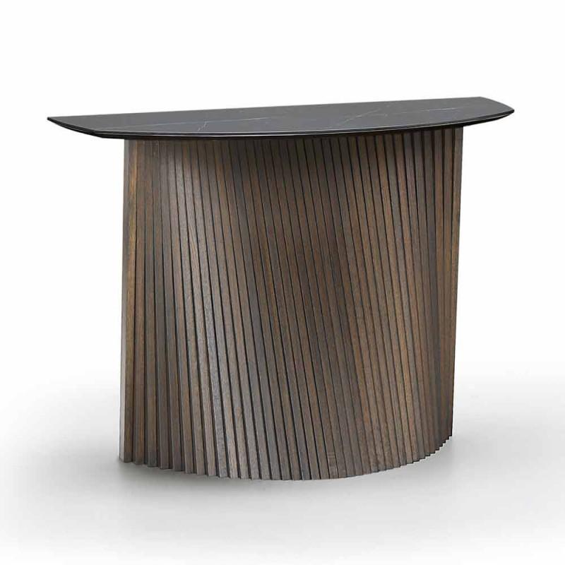 Console fixe moderne de forme convexe et plateau en grès, Apice
