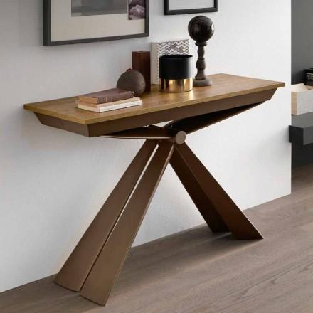 Console de table en bois et métal extensible jusqu'à 295 cm Made in Italy - Timedio