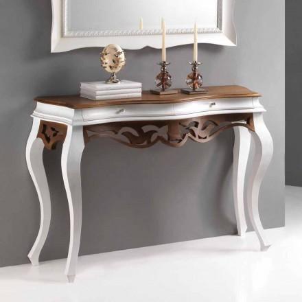 Console en bois design classique finition blanc antique et noix Creti