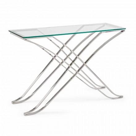 Console en verre trempé et base en acier Design moderne Homemotion - Zafira