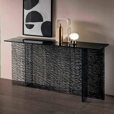 Console d'entrée design en verre extraclair décoré Made in Italy - Sestola