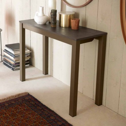 Console de table extensible moderne en bois de chêne et métal fabriqué en Italie - Nappo