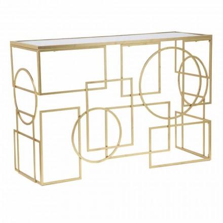 Console rectangulaire au design moderne en fer et miroir - Billie