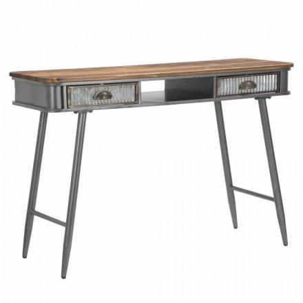 Console Rectangulaire en Fer et Bois Design Industriel - Ermo