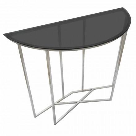 Consolle demi-cercle de style moderne en fer et verre - Augusta