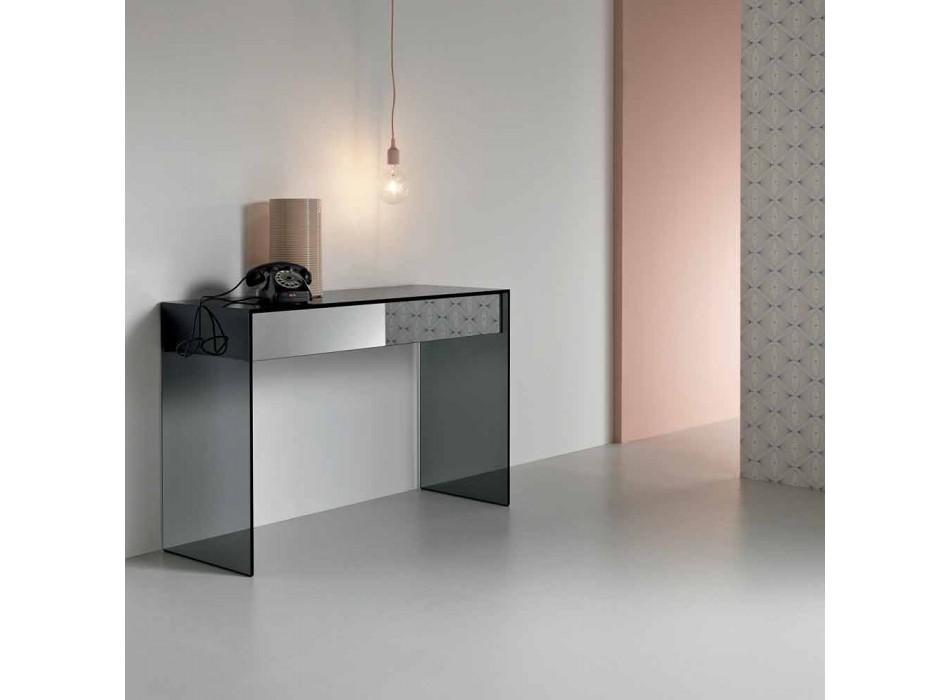 Bureau console en verre fumé avec tiroir Made in Italy - Mantra