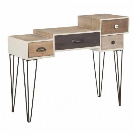 Console avec tiroirs de style industriel moderne en bois et métal - Lille