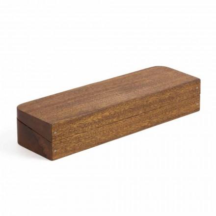 Conteneur de bureau en bois d'acajou avec 3 compartiments Made in Italy - Nitro