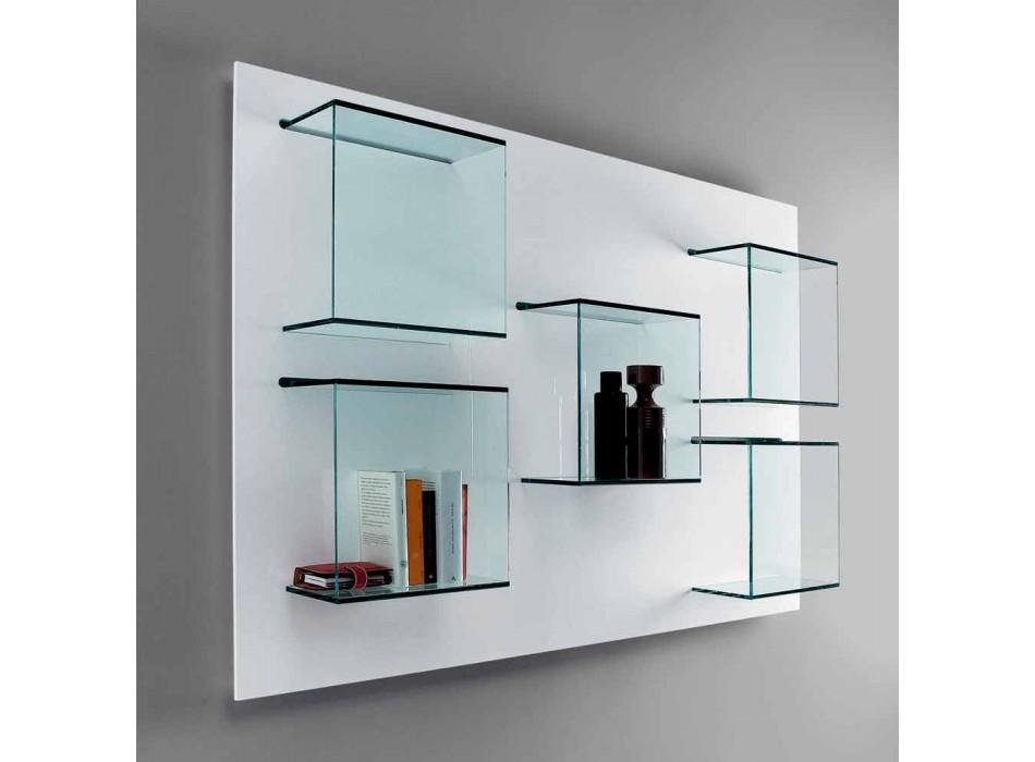 Panneau mural conteneur en bois blanc et étagères en verre - Basilic