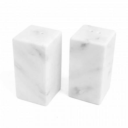 Récipients à sel et poivre en marbre blanc de Carrare fabriqués en Italie - Julio