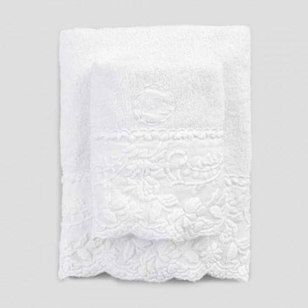 Paire de serviettes éponge visage et invité avec broderie pétale - Gianciotto