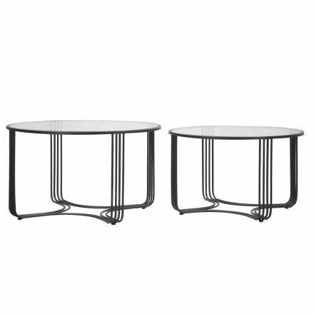 Paire de tables basses rondes modernes en verre et fer - Mirna